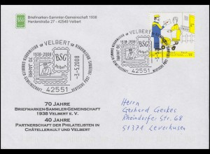 2620 Postbote, EF Brief SSt Velbert 70 Jahre BSG Velbert & Zeppelin 3.5.2008