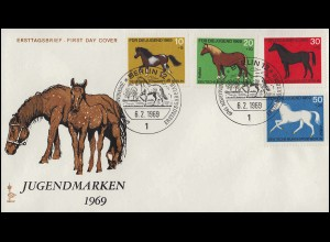 326-329 Jugend Pferde 1969 - Satz auf Schmuck-FDC ESSt Berlin 6.2.69