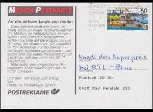 1583y Koblenz Medien-Postkarte LEVERKUSEN 31.1.1992 zu RTL-Plus n. Bad Hersfeld