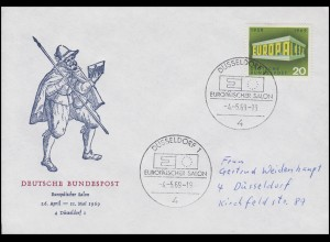 583 Europa & CEPT, EF Brief SSt Düsseldorf Europäischer Salon 4.5.1969