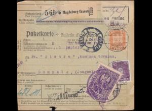 361 Adler +395 Leibnitz Paketkarte MAGDEBURG-CRACAU 28.4.28 nach DOMZALE 9.5.28