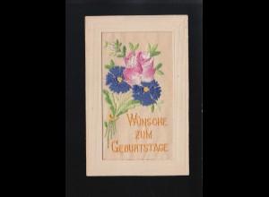 Rosa und blaue Blaumen Strauß gestickt, Wünsche zum Geburtstage, ungebraucht