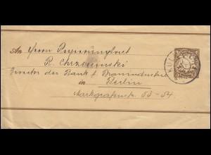 Bayern Streifband 3 Pfennig Wappen braun von KULMBACH 13.10.1905 nach Berlin