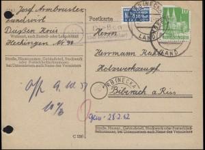 Landpost Dießen über HORB (NECKAR) 8.10.1951 auf Postkarte nach Biberach