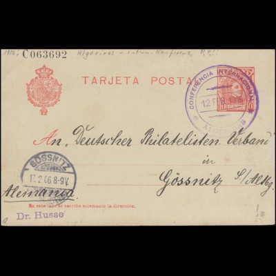 Marokkokrise 1906: Sonderstempel Algeciras-Konferenz 12.2.1906, span. Postkarte