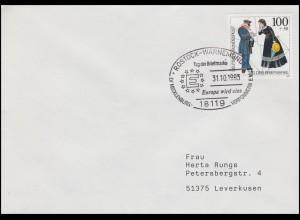 1692 Tag der Briefmarke & Postbote, EF Bf SSt Rostock-Warnemünde EUROPA 31.10.93