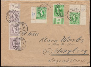 3+12+19 AM-Post 5 Pf. amerik.+ engl. + dt. Ausgabe MiF Brief OSTERODE 9.10.1946