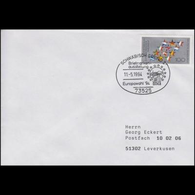 1724 Europa-Wahl, EF Brief SSt Schwäbisch Gmünd EU OSTALB & Europawahl 11.5.1994