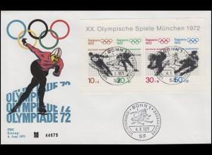 Block 6 Winterolympiade 1972 - auf Schmuck-FDC ESSt Bonn Abfahrtslauf 4.6.1971