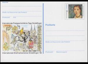 PSo 44 Briefmarkenbörse Sindelfingen mit Glückwunsch-Vordruck, ungebraucht **