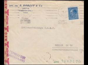 Zensurbrief aus Bulgarien 339 Freimarke EF SOFIA 1941 nach Berlin