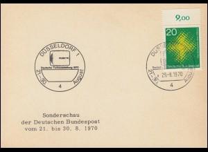 Karte Sonderschau der Deutschen Post Funkausstellung SSt DÜSSELDORF 29.8.1970