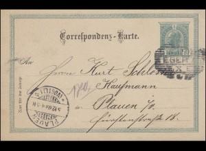 Österreich Postkarte P 130 Kaiser Franz Joseph 5 Heller, EGER 5.12.03 n. PLAUEN