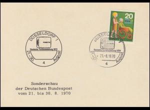 Karte Sonderschau der Deutschen Post Funkausstellung SSt. DÜSSELDORF 29.8.70