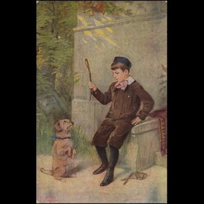 AK Hunde- Künstlerkarte ERPACO Ehrlich, BAHNPOST MÜLLHEIM-BADENWEILER 13.3.1920