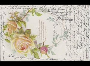 Ansichtskarte Glückwunsch Auf Rosen gebettet sein ... NEUWIED 4.2.00 nach AACHEN