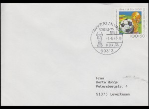 1718 Fußball & FIFA-Pokal, EF Brief SSt Frankfurt Fußball-WM in den USA 1.6.1994