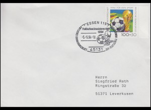 1718 Fußball & FIFA-Pokal, EF Brief SSt Essen Fußballweltmeisterschaft 5.5.1994