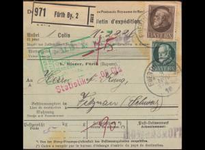 102+104 König Ludwig auf Auslands-Paketkarte FÜRTH 3.11.19 nach VITZNAU 8.11.