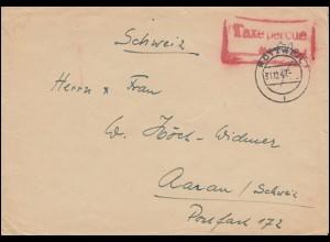 Gebühr-bezahlt-Brief mit Stempel Taxe percue 50 Rpf. aus ROTTWEIL 31.12.1947