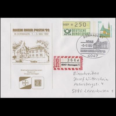 Privatumschlag RHEIN-RUHR-POSTA Rathaus, R-Brief SSt Dormagen Rathaus 3.5.1992