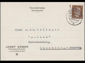 Luxemburg Hitler-EF 3 Pf. Orts-Drucksache Kohlenhandel ARELUX, LUXEMBURG 21.3.42