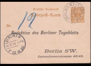 Rohrpostkarte RP 8 Adler BERLIN SW P61 (R31) 31.10.93 zu BERLIN P12 (R16) 31.10.