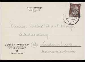 Luxemburg Hitler-EF 3 Pf. Orts-Drucksache Kohlenhandel LUXEMBURG-Tages-O 17.8.44
