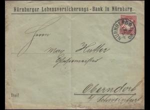 Bayern 10 Pf. Wappen EF Lebensversicherungs-Bank NÜRNBEG 28.4.08 nach Oberndorf