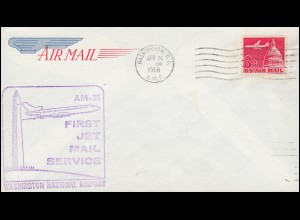 Erstflug AM-31 FIRST JET MAIL SERVICE Washington D.C. 24.4.1966 nach Miami 24.4.