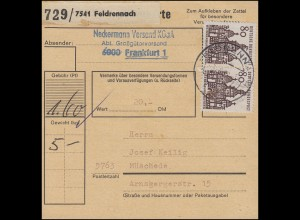 461 Kleine Bauwerke 80 Pf. Weißenburg: Paar auf Paketkarte FELDRENNACH 3.9.69