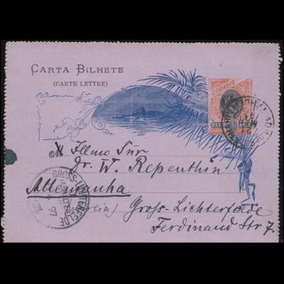 Brasilien Kartenbrief K 31 nach GROSS-LICHTERFELDE 1. (ANHALTER BAHN) 19.4.1897