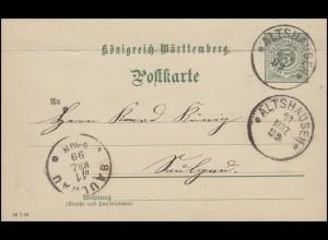 Württemberg P 37 Ziffer 5 Pf. DV 28 7 98 von ALTSHAUSEN 11.3.99 nach SAULGAU