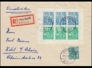 Fünfjahrplan Heftchenblatt 4A mit 415 MiF R-Brief Not-R-Zettel BERLIN 17.12.57