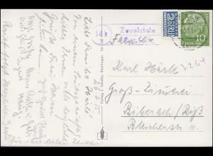 Landpost Zavelstein über CALW LAND 27.6.1955 auf AK Bad Teinach mit Zavelstein