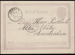 Niederlande Postkarte P 1 Wappen 2 1/2 C ARNHEM 24.4.72 n. AMSTERDAM 25.4.72