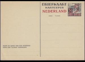 NL Postkarte P 234 Niederländisch-Indien mit Aufdruck 5 auf 3½ C. ** ungebraucht
