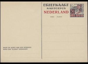 Niederlande Postkarte P 234 Niederl.-Indien, Aufdruck 5 auf 3½ C. ** ungebraucht