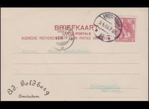 Niederlande 54 Königin Wilhelmine 5 C. auf PK AMSTERDAM 9.4.10 nach FAHRWANGEN