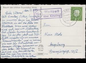 Landpost Wettzell über KÖTZING 22.7.1959 auf Ansichtskarte Kraftwerk Höllenstein