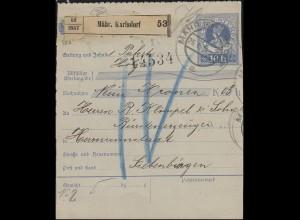 Österreich Paketkarte 10 H blau MÄHR. KARLSDORF 26.1.14 nach MAGYSZEBEN 30.1.14