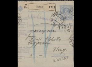 Österreich Paketkarte 10 H blau NACHOD 25.1.14 nach MAGYSZEBEN 27.1.14