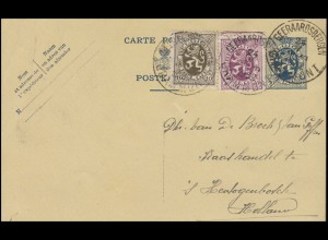 Belgien Postkarte P 142I mit Zusatzfr. Wappenlöwe, GEERAARDSBERGEN 24.5.1932