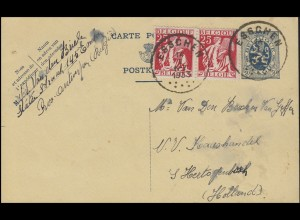 Belgien Postkarte P 142I mit Zusatzfr. 330 Paar ESSCHEN 14.1.1933 nach Den Bosch
