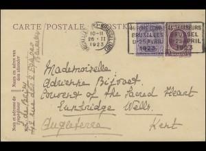 118+174 König Albert I. MiF Postkarte Brüssel / Bruxelles 26.2.1923 nach Kent