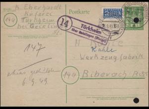 Landpost Türkheim über GEISLINGEN (STEIGE) 5.9.1949 auf Postkarte Bizone P 2I