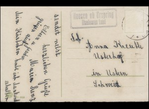 Landpost Hausen ob Urspring Blaubeuren Land auf AK Neujahr, ohne Marke, 1917