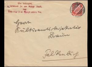 Hindenburg 12 Pf. EF auf Brief WIRCHOW 10.11.33 nach Falkenburg mit Propaganda-O