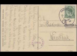DSWA Bes. I. Weltkrieg AK Landungsbrücke Bahnpost Swakopmund 14.1.18 n. Windhuk