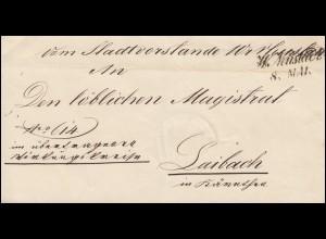Österreich Briefhülle Zweizeiler W(iener) Neustadt 8.5.1858 nach Laibach 9.2.